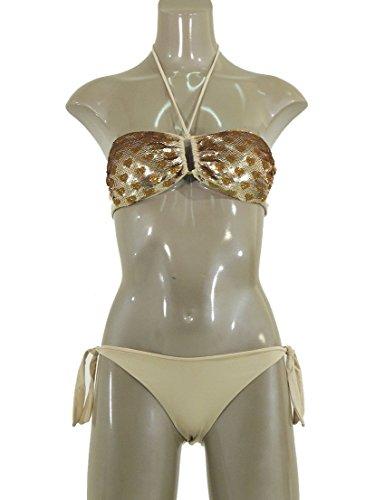 Twin-Set beachwear bikini a fascia con paillettes tono su tono beige S3MMS3222 (1)