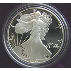 1986 AMERICAN SILVER EAGLE PROOF $1 DOLLAR COIN W/BOX