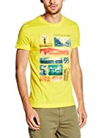 "THINK PINK Camiseta Manga Corta T-Shirt Uomo ""Think Pink"" Jersey Basic Con Stampa Cartoline (Amarillo)"