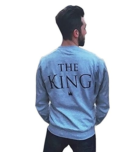 YouPue Lovers Design Camicia Manica Lunga KING & QUEEN Letter Stampa Camicetta Pullover Re Asia L