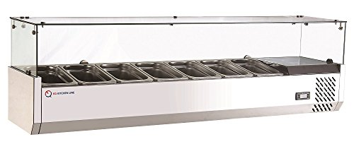 EQ Refrigerator Salad Bar Display Fridge Stainless Steel Base Automatic Defrost