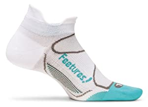 Feetures! Elite Ultra Light No Show Tab Sock - Women's White/Aqua, S White/Aqua, S