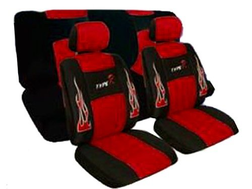 A Set of Low Back Type R Flame Racing Style Front Bucket Seat Covers, Head Rest Cover, Bench Seat Cover, Steering Wheel Cover and Shoulder Strap Cover - Red (Red Flame Seat Covers compare prices)