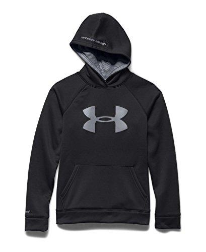 Under Armour Kids Boy's UA Storm Armour® Fleece Big Logo Hoodie (Big Kids) Black/Reflective Sweatshirt LG (14-16 Big Kids)