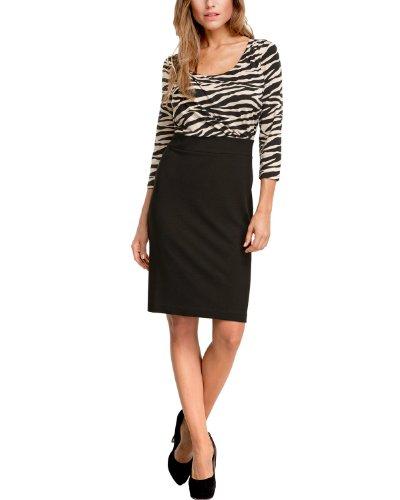 Comma Damen Kleid (knielang) 81.308.82.2415 KURZ Tierdruck Regular Fit, 40, Mehrfarbig (99B3 grey/black AOP)