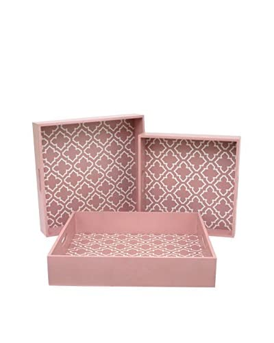 Three Hands Wood Tray Set Of 3, Pink, 17.75x3.5x17.75