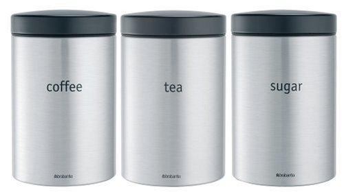 Brabantia 314926 Barattolo per Tè/Caffè/Zucchero, Inox Satinato, 1.4 l