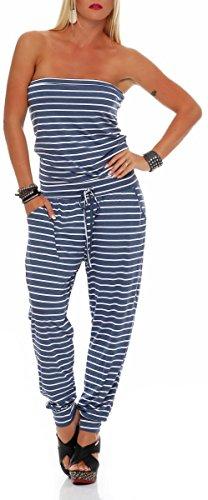 Hosenanzug-im-Marine-Look-Jumpsuit-Romper-Bandeau-Einteiler-Overall-Playsuit-Strampler-Body-Catsuit-Trgerlos-Rckenfrei-rmellos-Denim-9647-Damen-One-Size-jeansblau
