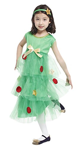 [Ace Halloween Christmas Children's Kids Girls Cute Christmas Tree Costumes (7Y-8Y)] (Halloween Tree Costume)