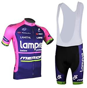 Cycling-sports Speed Fitness 2014 Lampre Blue Mens Short Sleeve Bike Strap Suit... by Cycling-sports