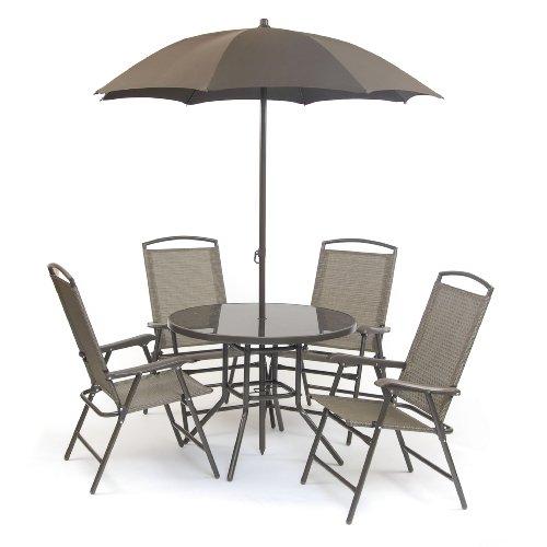 Deluxe Rimini Set  Garden Furniture Set includes 4 Chairs/ Table/ Parasol - Bronze (6 Pieces)