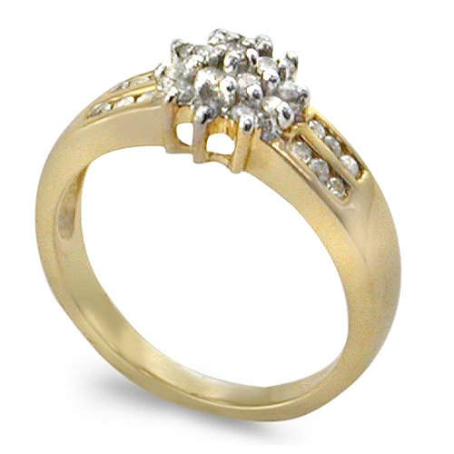 9ct Yellow Gold Ladies Cluster Diamond Ring Set