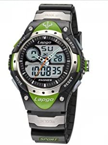 Pas Highquality Water-proof Dual Time Children Boys Girls Sport Watch Black and Green