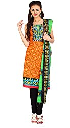 Parchayee Women's Cotton Dress Material (Printed_Orange_Free Size)
