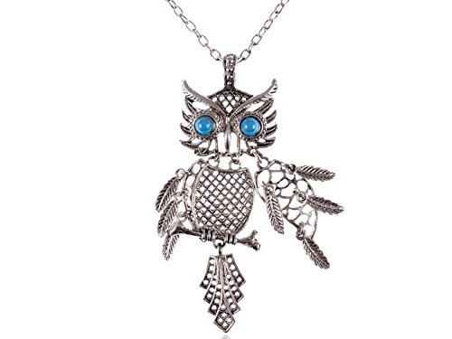 style-vintage-couleur-argent-bleu-turquoise-bird-eye-collier-avec-pendentif-en-forme-de-chouette