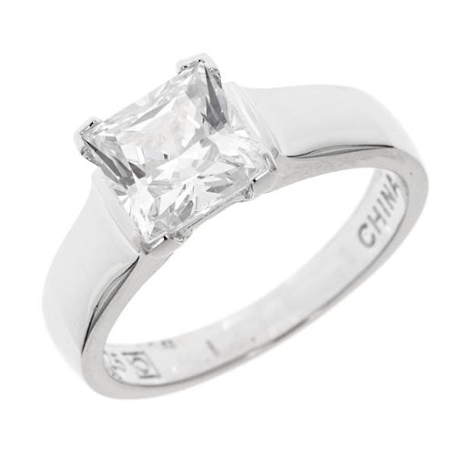Verconia Collection Sterling Silver 4-Prong Princess Swarovski Cubic Zirconia Solitaire Ring, (1 cttw), Size 5