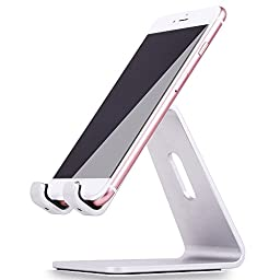 KAERSI K1 Desktop Cell Phone Stand: Charging Cradle, Display Dock for 4 to 13 inch All Smartphone, Tablets and E-reader, iPhone, iPad - Silver