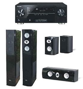 Pioneer Reciever SC-2022-K schwarz + Lautsprecherset Pure Acoustics DREAM 77 (5-teilig) piano-schwarz