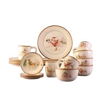 American Atelier Christmas Twig 20 Piece Dinnerware Set, Cream (Christmas Dishes compare prices)