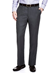 Collezione Luxury Pure Wool Flat Front Flannel Trousers