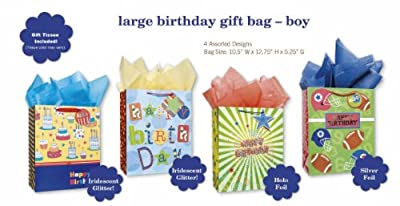 Birthday Party Gift Bags Set of 4 Large Gift Bags With Glitter Tags, Cake Design and Tissue Paper for Kids, Boys, Girls, Football Fans, Men