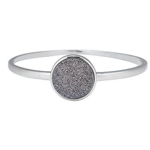 Sterling Silver Platinum Drusy Bangle Bracelet