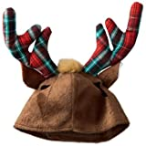 Petco Holiday Plaid Antlers Cat Hat