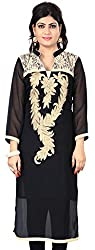 Fashionx black pure georgette embroidered full length kurti