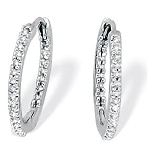 Click to buy 1 Carat Genuine Diamond Inside-Out Platinum Hoop Earrings from Amazon!