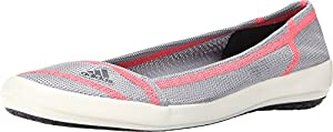Adidas Boat Slip-On Sleek Shoe - Women's Mid Grey / Dark Grey / Flash Red 8