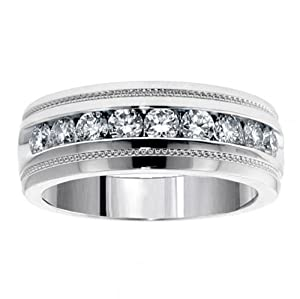 1.00 CT TW Brilliant Cut Diamond Men's Ring in Platinum Channel Setting - Size 10.5