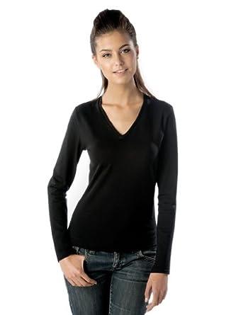 Kariban Ladies Langarm T-Shirt mit V-Ausschnitt K382, Größe:S;Farbe:Black