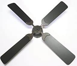 Global Electric 42-inch Non-Brush Ceiling Fan for RV, Rustic Bronze with Wall Control, Black Blades