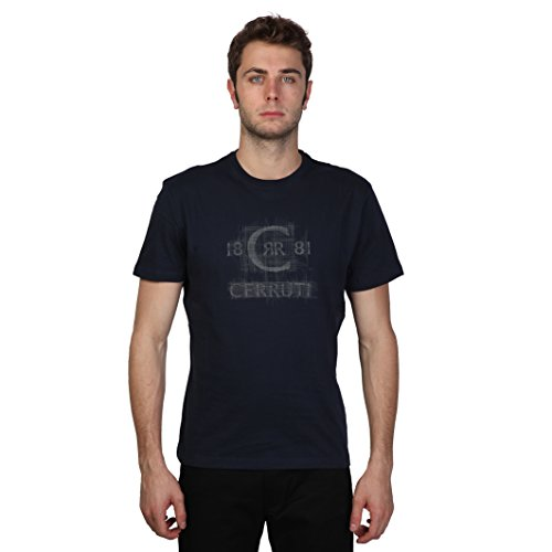 Cerruti 1881 - T-Shirt 100% cotone maniche corte logo sbiadito - Uomo (L) (Blu mezzanotte)