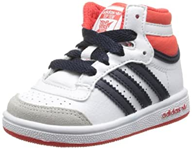 adidas Originals Topten Hi I, Baskets mode mixte bébé - Blanc (White/Hi-Res Red/Legend Ink), 20 EU