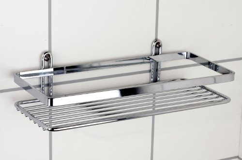 Satina Single Rectangle Chrome Shower Caddy 25x11x4cm Made in Sweden