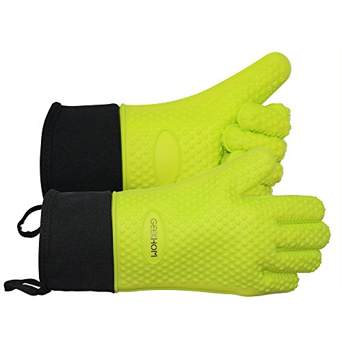 Review Of BBQ Grilling Gloves, GEEKHOM Silicone Gloves Heat Resistant Oven Mitts, Waterproof Non-sli...