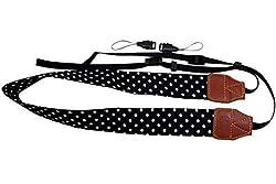 Katia Camera Shoulder Neck Strap Belt for Fujifilm Instax Mini 25/ Mini 8/ Mini 90 Instant Camera, Polaroid ' Socialmatic/ Z2300 ' Instant/ PIC300 ' Instant ' Camera, Nikon/ Canon Camera(Black/ white dots)