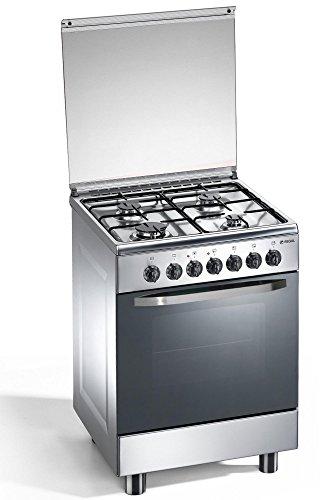 Cuisinire--gaz-4-feux-inox-60x60x85-cm-avec-four-lectrique-Regal-RC663XSN