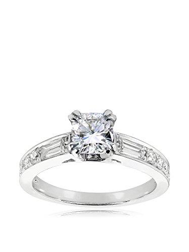 Kobelli 14K White Gold Cushion-Cut Moissanite & Diamond Forever Classic Engagement Ring