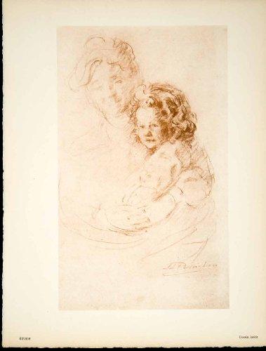 1933 Heliogravure Jules-Leon Perrichon Etude Mother Child Baby Portrait Art - Original Heliogravure