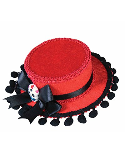 Day of the Dead Red Gaucho Mini Hat with Pom Poms