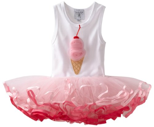 Mud Pie Baby-girls Newborn Ice Cream Tutu Dress, Pink/White, 9-12 Months