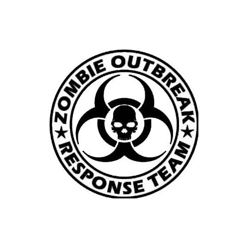 Zombie Outbreak Response Team Skull Design   5 WHITE Vinyl Decal Window Sticker by Ikon Sign