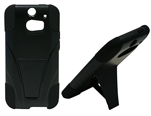 Mylife Unique Black {Impact Design} Two Piece Neo Hybrid (Shockproof Kickstand) Case For The All-New Htc One M8 Android Smartphone - Aka, 2Nd Gen Htc One (External Hard Fit Armor With Built In Kick Stand + Internal Soft Silicone Rubberized Flex Gel Full B