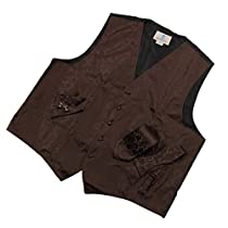 Brown Paisley Formal Vest for Men Patterned for Mens Gift Idea with Neck Tie, Cufflinks, Handkerchief, Bow Tie for Suit Vs1013-L Large Brown
