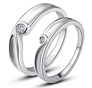 Unendlich U Fashion 2 Stück Herz mit 925 Sterling Silber und Cubic Zirconia für Hochzeits-Band/Jahrestag/Engagement/Versprechen Paare/Liebhaber Rings -Herren, Ring Größe 57 (18.1) (Enable to Engrave Your Own Words)