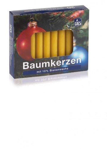 Baumkerzen 10% Bienenwachs, 20er Packung, 96 x 13 mm, Christbaumkerzen, Weihnachtskerzen