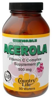 Country Life - Chewable Acerola Vitamin C Complex, 500 Mg, 90 Wafers