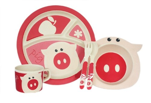 Bamboo Fiber Funny Kids Set Pinky Piglet Bpa Free, Non-Toxic [Free Baby Meal Organic Supplement]